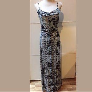 Parker ruffle croc printed tank blue maxi dress M